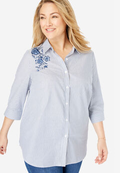 Printed Three-Quarter Sleeve Perfect Shirt, ROYAL NAVY FLORAL EMBROIDERY