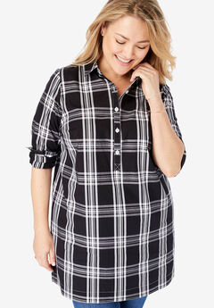 Perfect Popover Henley Maxi Tunic, BLACK PLAID