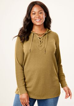 Lace-Up Hooded Washed Thermal Sweatshirt,
