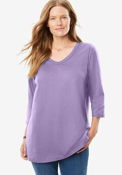 Perfect Three-Quarter Sleeve V-Neck Tee,