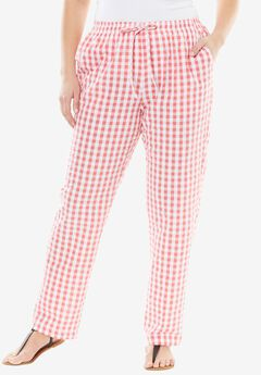 Seersucker Pant, CORAL ROSE GINGHAM