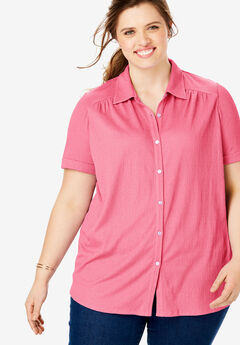 Gauze Button Down Tee,