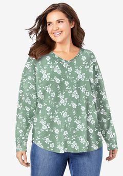 Long Sleeve V-Neck Thermal Tee,