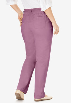 Back-Elastic Straight Leg Cotton Jean, BERRY MIST