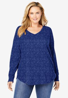 Washed Thermal V-Neck Tee,