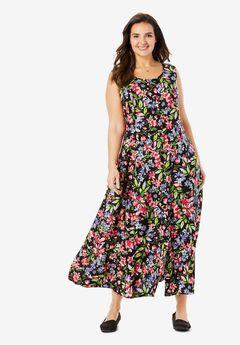 Scoopneck Button-Front Maxi Dress,