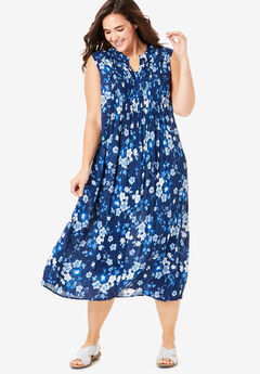 Sleeveless Pintuck Crinkle Dress, EVENING BLUE FLORAL BLOSSOM