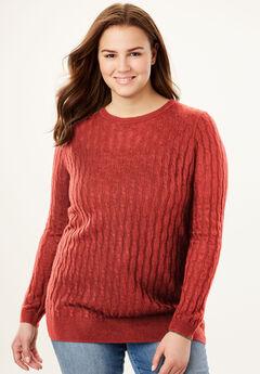 Lightweight Cabled Crewneck Sweater,