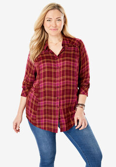 Tiny Ruffle Trim Button-Down Shirt,