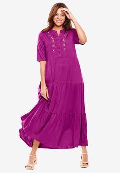 Elbow-Sleeve Tiered Henley Dress,