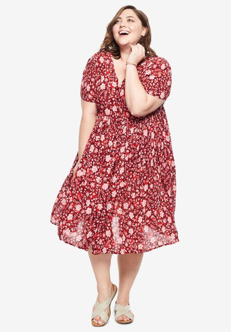 Short Button-Front Crinkle Dress