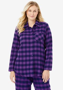 Flannel Snap-Front Pajama Shirt by Dreams & Co.®,