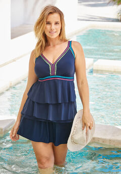 Crochet-Trim Tankini Top ,
