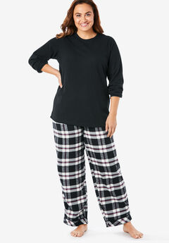 Thermal PJ Set by Only Necessities®, BLACK PLAID