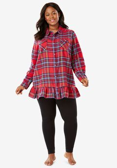 Flannel Peplum Pajama Set by Dreams & Co.®,