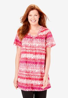 Perfect Printed Shirred V-Neck Tunic, CRYSTAL BERRY BATIK ABSTRACT