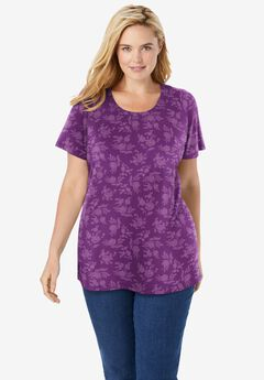 Perfect Printed Short-Sleeve Scoop-Neck Tee,