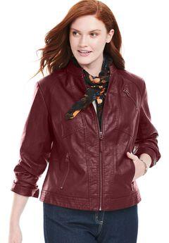 Zip-Front Faux Leather Jacket,