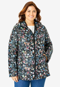 Packable Puffer Jacket, BLACK PAINTERLY DITSY