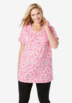 Perfect Printed Shirred V-Neck Tunic, PASSION PINK FLORAL DYE
