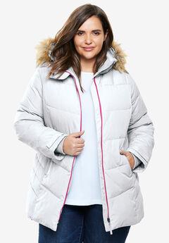 Fur Trim Hooded Ski Jacket,