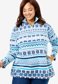 Quarter-Zip Microfleece Pullover, BLUE FAIR ISLE