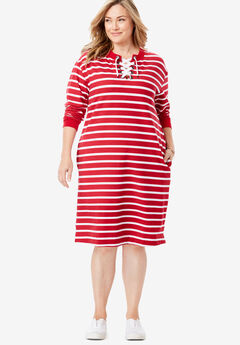 Lace-Up Front Fleece Dress, VIVID RED WHITE STRIPE