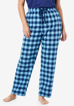 Cotton Flannel Pants by Dreams & Co.®, EVENING BLUE PLAID