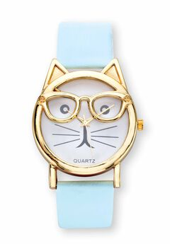 "Gold Tone Bowtie Cat Watch with Adjustable Light Blue Strap, 8"","
