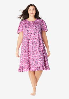 Short Floral Print Cotton Gown by Dreams & Co.®, ROSEBUD BOUQUET