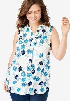 Sleeveless Tab-Front Shirt,