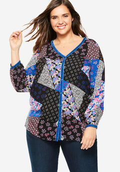 Velour-Trimmed Mixed Print Button Front Shirt,