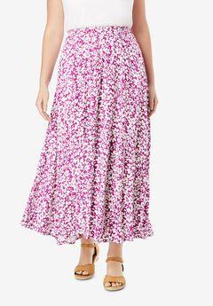 Pull-On Elastic Waist Soft Maxi Skirt,