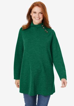 Button Funnel Neck Tunic,