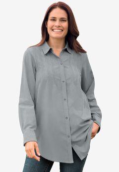 Pintucked Corduroy Button Down Shirt,