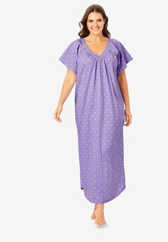 Crochet Trim Flutter Sleeve Gown by Only Necessities®,