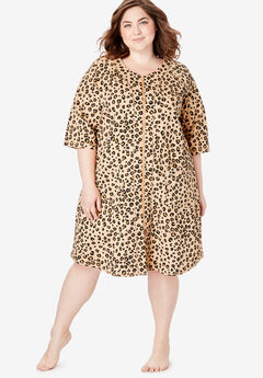 Short French Terry Zip-Front Robe by Dreams & Co.®, CLASSIC LEOPARD PRINT