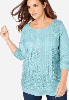 Crochet front tee,