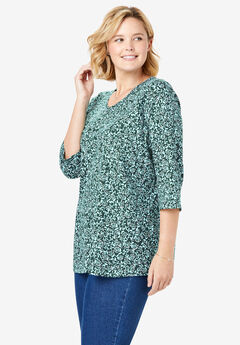 Perfect Printed V-Neck Three-Quarter Sleeve Tee, DEEP EMERALD DELICATE MISTLETOE