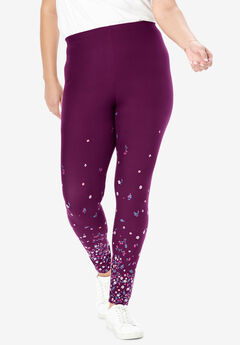 Cozy Legging, DARK BERRY FLORAL BORDER