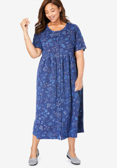 Button-Front Essential Dress, NAVY STITCH FLORAL