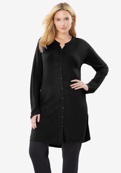 Mandarin Collar Button-Front Maxi Tunic,