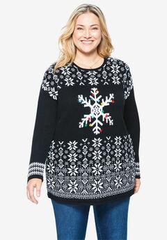Holiday Pullover Sweater, BLACK SNOWFLAKE FAIR ISLE