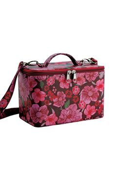 Hard travel case in rose  print,