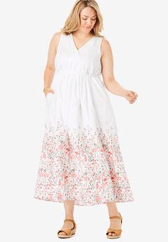 Sleeveless Surplice Maxi Dress, WHITE GARDEN BORDER