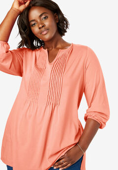 Notch Neck Pintucked Tunic,