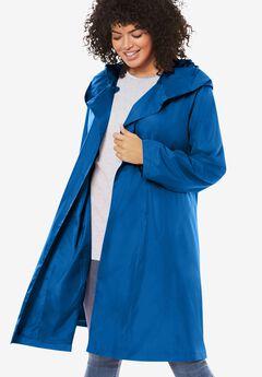 Packable Hooded Raincoat, DEEP COBALT