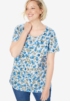 Perfect Printed Tee, PALE SKY BLOSSOM VINE