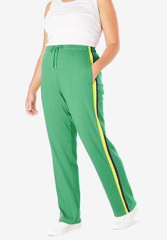 Sport Knit Side-Stripe Pant, VIBRANT CLOVER BRIGHT DAFFODIL NAVY
