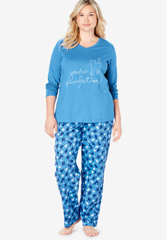Long-Sleeve Sleep Tee by Dreams & Co.®, CORNFLOWER BLUE CAT